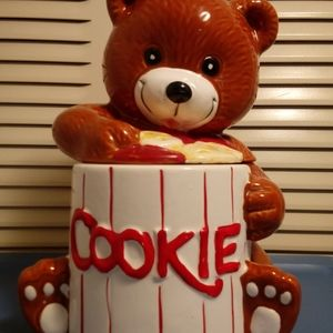 Other - Brown bear cookie jar with a white jar